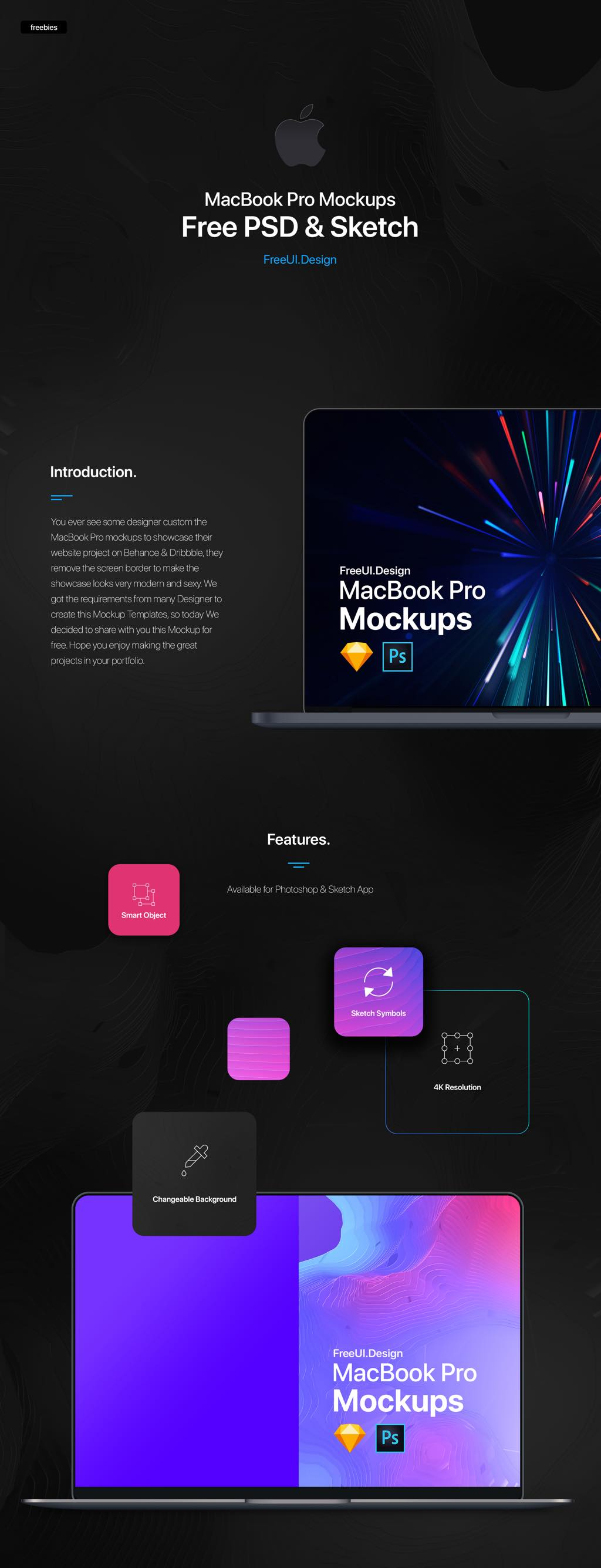 The New MacBook Pro Mockup | Freebies | Photoshop + Sketch App